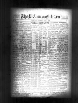Primary view of object titled 'The El Campo Citizen (El Campo, Tex.), Vol. 20, No. 1, Ed. 1 Friday, March 5, 1920'.