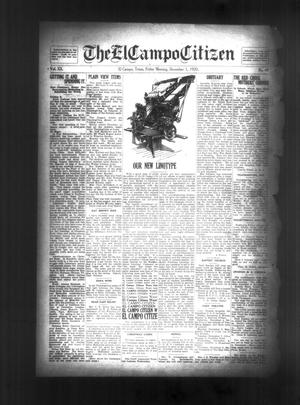 Primary view of object titled 'The El Campo Citizen (El Campo, Tex.), Vol. 20, No. 40, Ed. 1 Friday, December 3, 1920'.