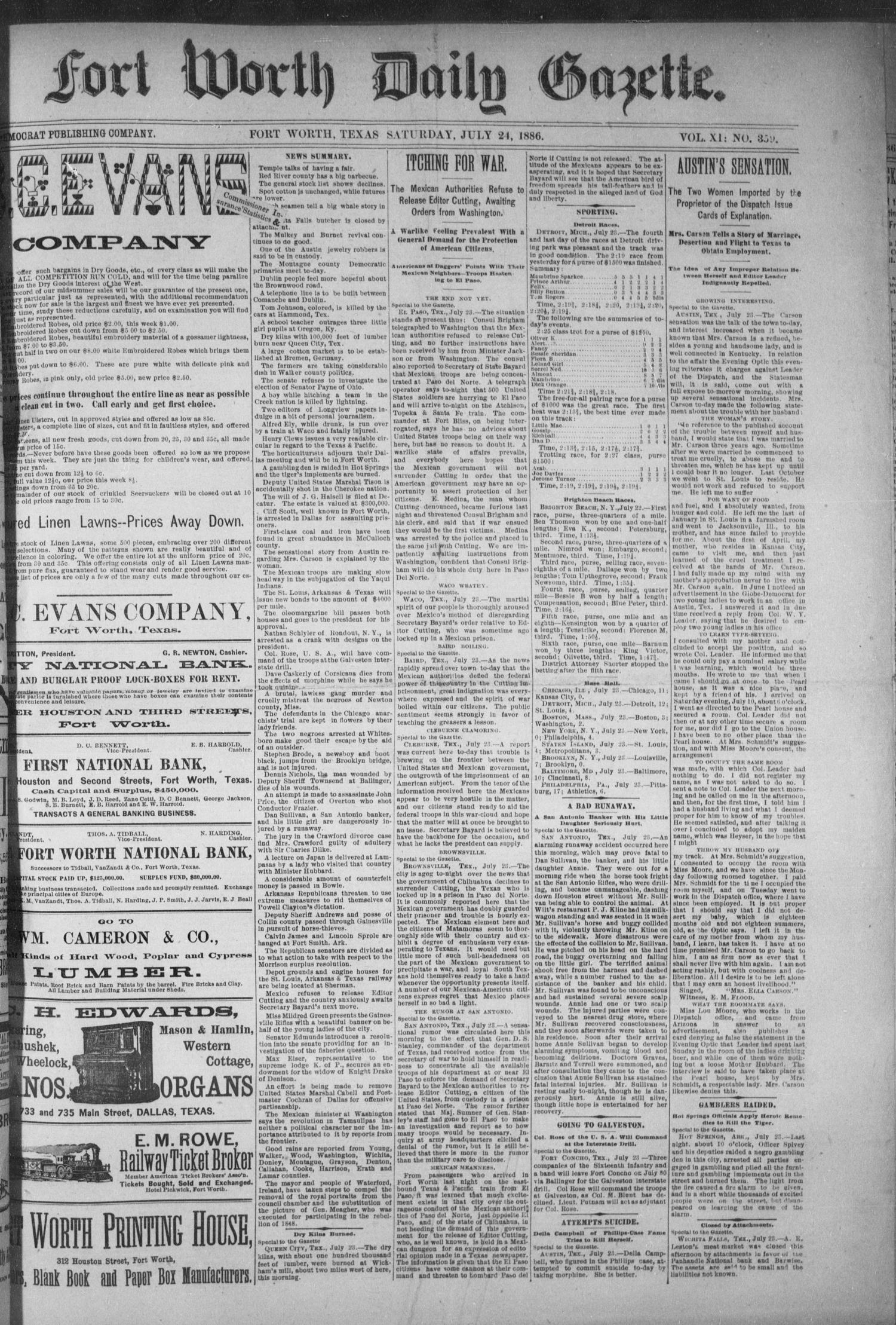Fort Worth Daily Gazette. (Fort Worth, Tex.), Vol. 11, No. 359, Ed. 1, Saturday, July 24, 1886                                                                                                      [Sequence #]: 1 of 8