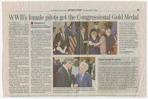 Primary view of object titled '[Clipping: WWII's female pilots get the Congressional Gold Medal]'.