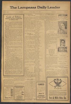 Primary view of object titled 'The Lampasas Daily Leader (Lampasas, Tex.), Vol. 30, No. 126, Ed. 1 Wednesday, August 2, 1933'.