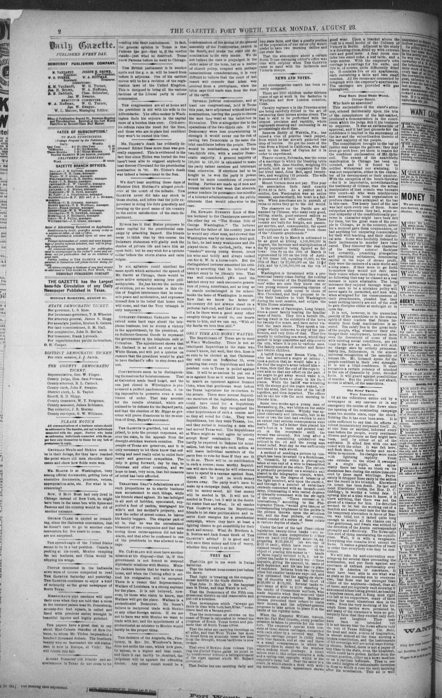 Fort Worth Daily Gazette. (Fort Worth, Tex.), Vol. 12, No. 24, Ed. 1, Monday, August 23, 1886                                                                                                      [Sequence #]: 2 of 8
