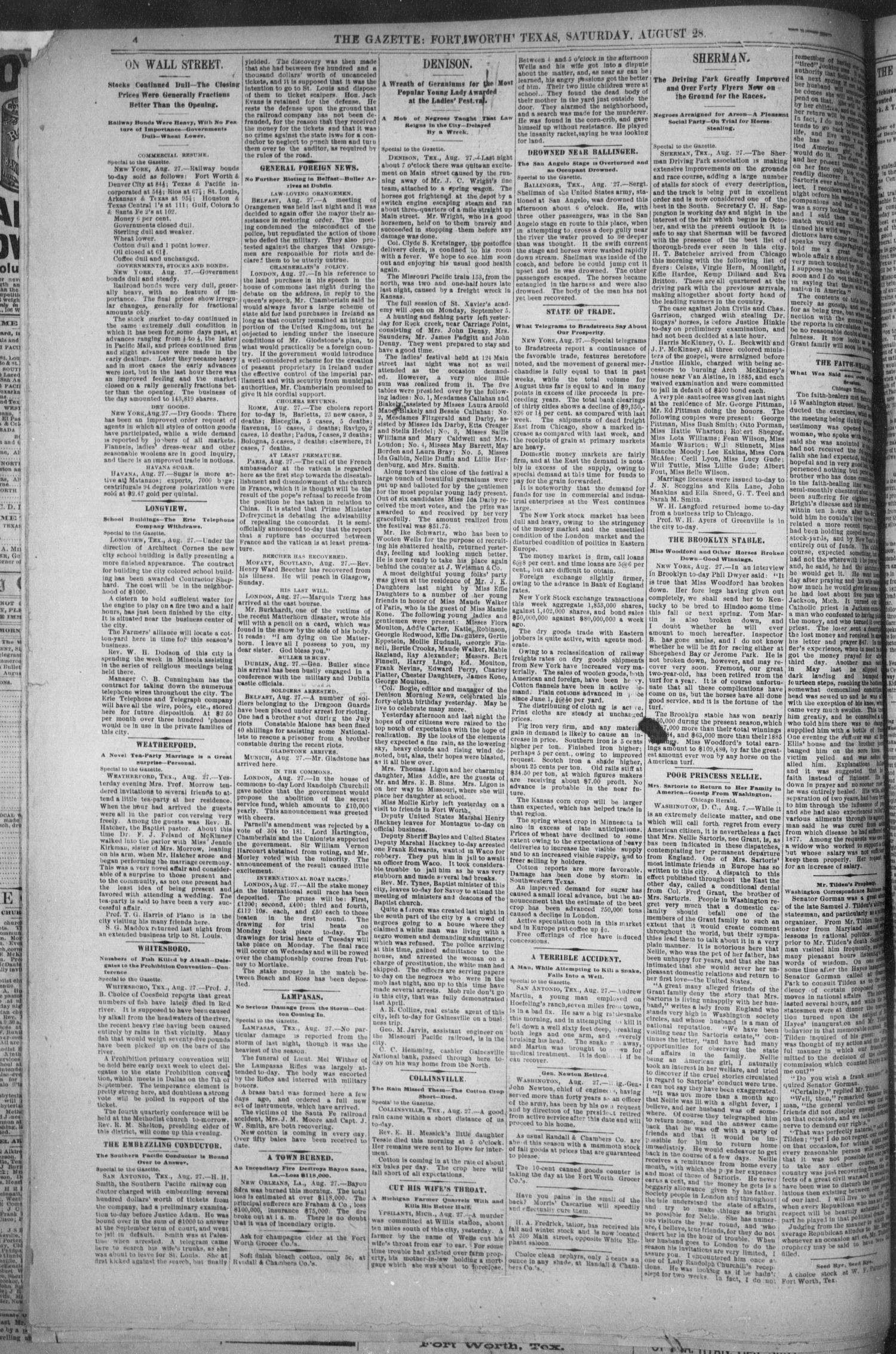 Fort Worth Daily Gazette. (Fort Worth, Tex.), Vol. 12, No. 29, Ed. 1, Saturday, August 28, 1886                                                                                                      [Sequence #]: 4 of 8