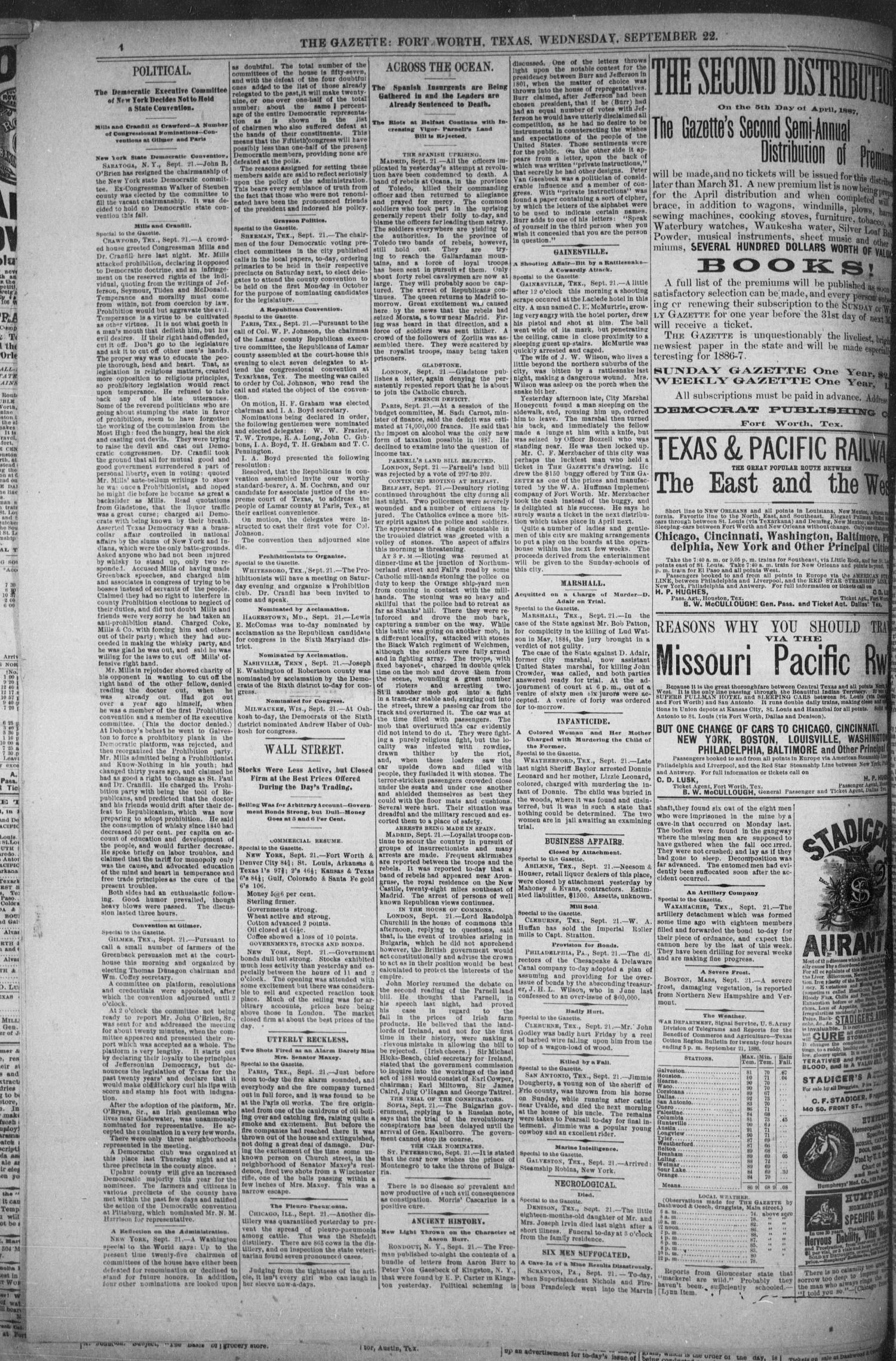 Fort Worth Daily Gazette. (Fort Worth, Tex.), Vol. 12, No. 54, Ed. 1, Wednesday, September 22, 1886                                                                                                      [Sequence #]: 4 of 8