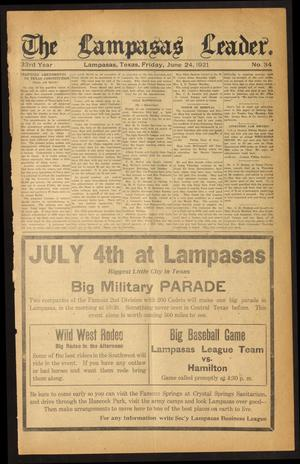 Primary view of object titled 'The Lampasas Leader. (Lampasas, Tex.), Vol. 33, No. 34, Ed. 1 Friday, June 24, 1921'.