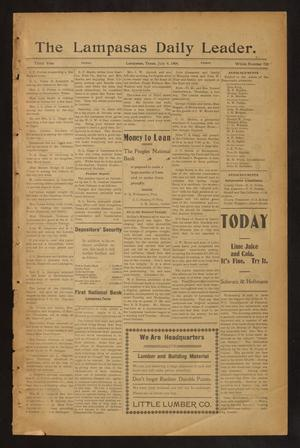 Primary view of object titled 'The Lampasas Daily Leader. (Lampasas, Tex.), Vol. 3, No. 722, Ed. 1 Friday, July 6, 1906'.