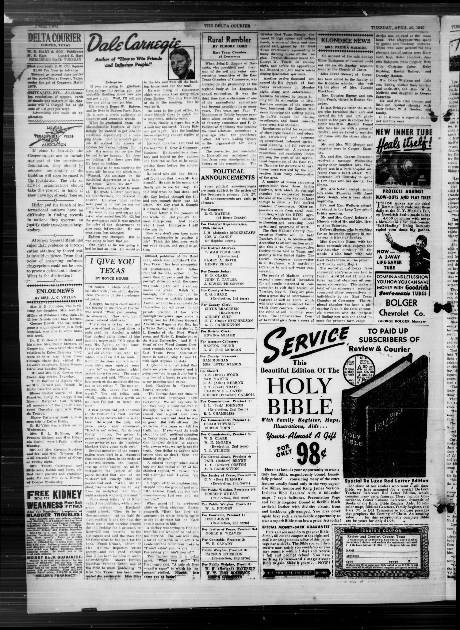 The Delta Courier (Cooper, Tex.), Vol. 59, No. 18, Ed. 1 Tuesday, April 30, 1940                                                                                                      [Sequence #]: 2 of 4