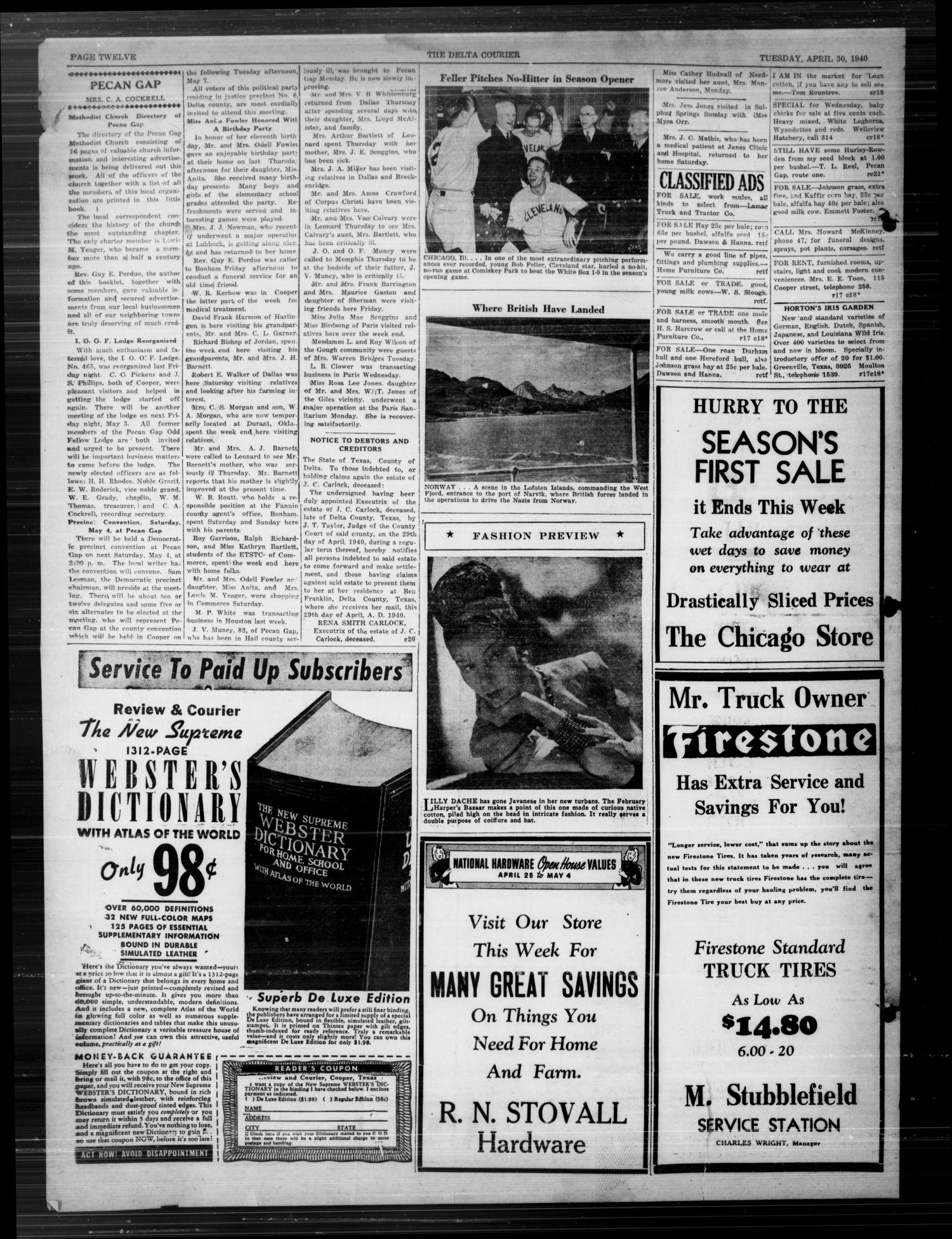 The Delta Courier (Cooper, Tex.), Vol. 59, No. 18, Ed. 1 Tuesday, April 30, 1940                                                                                                      [Sequence #]: 4 of 4