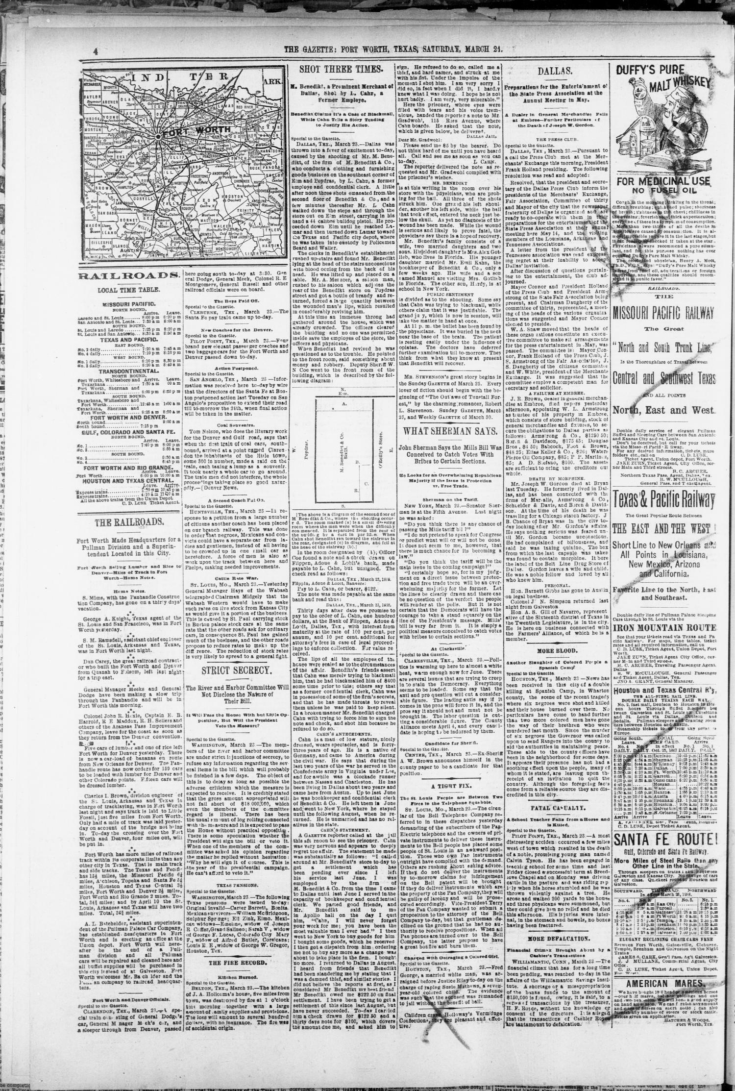 Fort Worth Daily Gazette. (Fort Worth, Tex.), Vol. 13, No. 235, Ed. 1, Saturday, March 24, 1888                                                                                                      [Sequence #]: 4 of 8