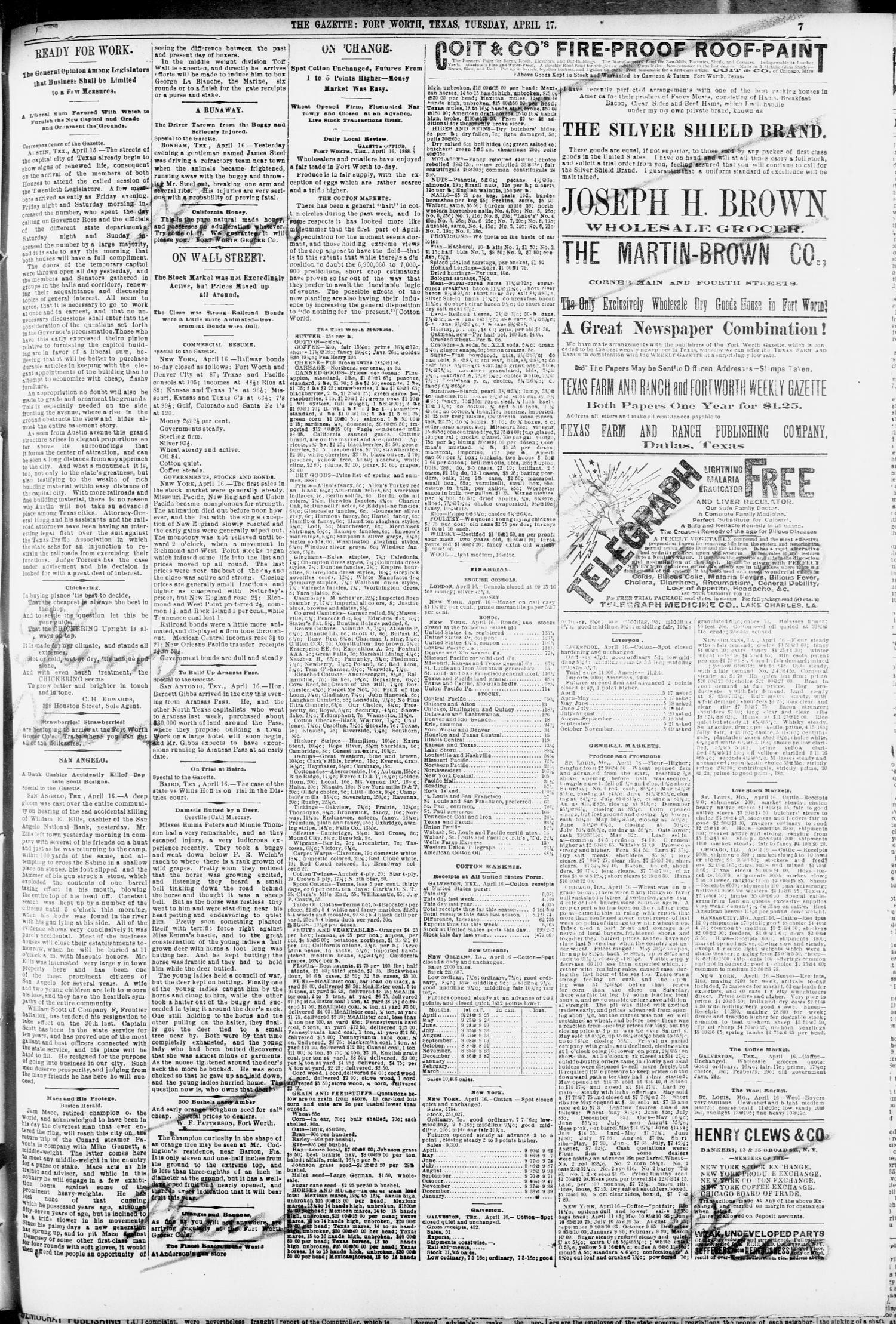 Fort Worth Daily Gazette  (Fort Worth, Tex ), Vol  13, No