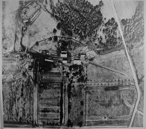 Primary view of object titled '[Aerial photograph taken directly over the top of George Ranch]'.