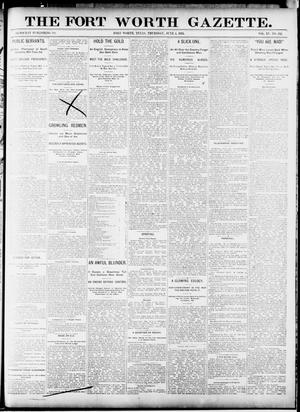 Primary view of Fort Worth Gazette. (Fort Worth, Tex.), Vol. 15, No. 232, Ed. 1, Thursday, June 4, 1891