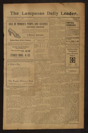 Primary view of object titled 'The Lampasas Daily Leader. (Lampasas, Tex.), Vol. 11, No. 77, Ed. 1 Friday, June 5, 1914'.