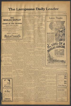 Primary view of object titled 'The Lampasas Daily Leader (Lampasas, Tex.), Vol. 31, No. 296, Ed. 1 Tuesday, February 19, 1935'.