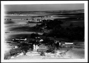Primary view of object titled '[Aerial photograph of the George Ranch house and the circular driveway]'.