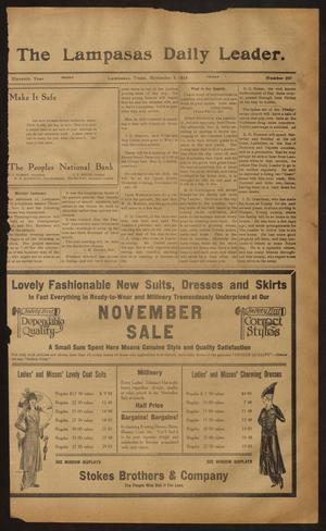 Primary view of object titled 'The Lampasas Daily Leader. (Lampasas, Tex.), Vol. 11, No. 209, Ed. 1 Friday, November 6, 1914'.