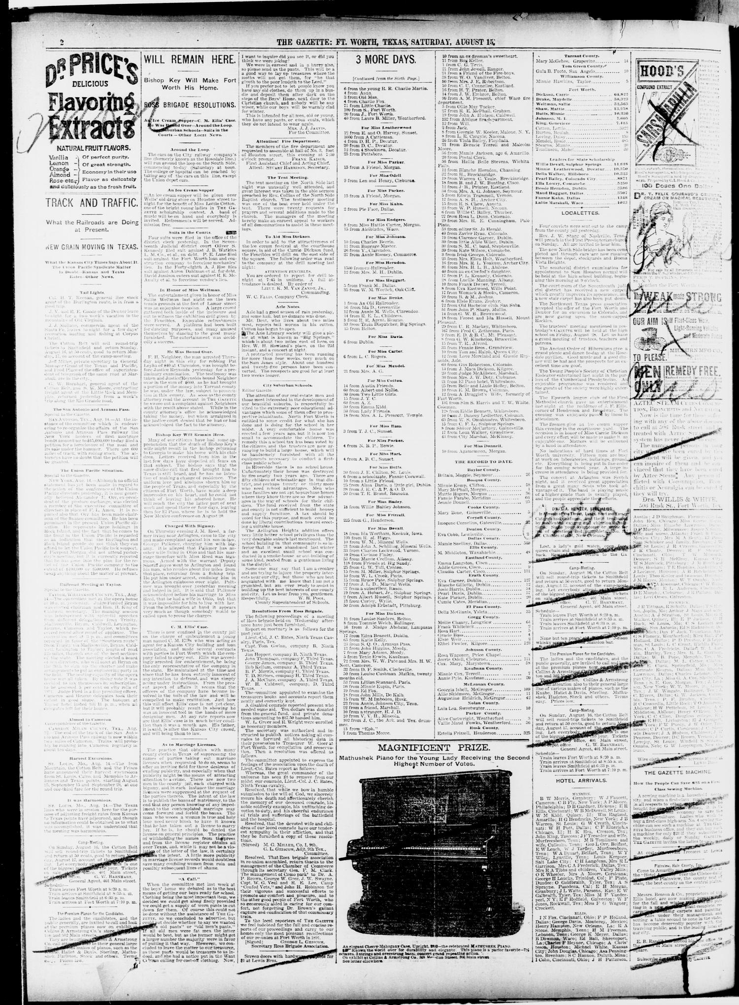 Fort Worth Gazette. (Fort Worth, Tex.), Vol. 15, No. 304, Ed. 1, Saturday, August 15, 1891                                                                                                      [Sequence #]: 2 of 8