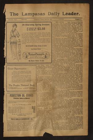 Primary view of object titled 'The Lampasas Daily Leader. (Lampasas, Tex.), Vol. 11, No. 39, Ed. 1 Wednesday, April 22, 1914'.