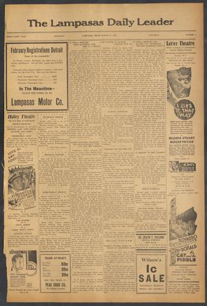 Primary view of object titled 'The Lampasas Daily Leader (Lampasas, Tex.), Vol. 31, No. 4, Ed. 1 Saturday, March 10, 1934'.