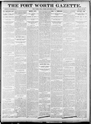 Primary view of object titled 'Fort Worth Gazette. (Fort Worth, Tex.), Vol. 15, No. 338, Ed. 1, Friday, September 18, 1891'.