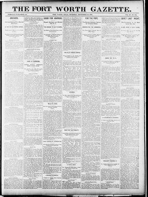 Primary view of object titled 'Fort Worth Gazette. (Fort Worth, Tex.), Vol. 1, No. 344, Ed. 1, Thursday, September 24, 1891'.