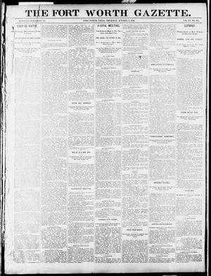 Primary view of object titled 'Fort Worth Gazette. (Fort Worth, Tex.), Vol. 15, No. 351, Ed. 1, Thursday, October 1, 1891'.