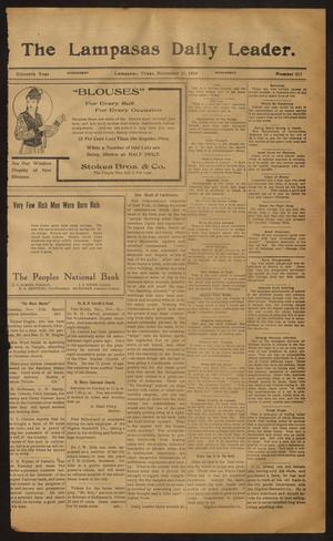 Primary view of object titled 'The Lampasas Daily Leader. (Lampasas, Tex.), Vol. 11, No. 213, Ed. 1 Wednesday, November 11, 1914'.