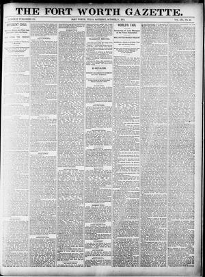 Primary view of object titled 'Fort Worth Gazette. (Fort Worth, Tex.), Vol. 16, No. 16, Ed. 1, Saturday, October 31, 1891'.