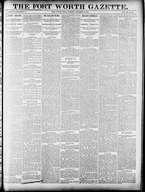 Primary view of object titled 'Fort Worth Gazette. (Fort Worth, Tex.), Vol. 16, No. 19, Ed. 1, Tuesday, November 3, 1891'.