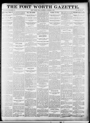 Primary view of object titled 'Fort Worth Gazette. (Fort Worth, Tex.), Vol. 16, No. 23, Ed. 1, Saturday, November 7, 1891'.