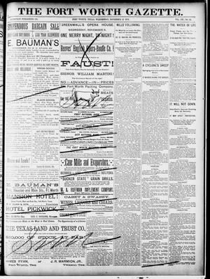 Primary view of Fort Worth Gazette. (Fort Worth, Tex.), Vol. 16, No. 27, Ed. 1, Wednesday, November 11, 1891