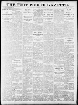 Primary view of object titled 'Fort Worth Gazette. (Fort Worth, Tex.), Vol. 16, No. 44, Ed. 1, Saturday, November 28, 1891'.