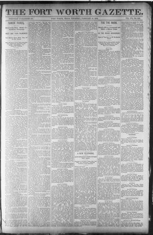 Primary view of object titled 'Fort Worth Gazette. (Fort Worth, Tex.), Vol. 16, No. 119, Ed. 2, Thursday, February 11, 1892'.