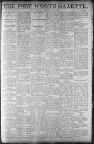 Primary view of object titled 'Fort Worth Gazette. (Fort Worth, Tex.), Vol. 16, No. 124, Ed. 1, Tuesday, February 16, 1892'.