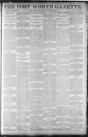 Primary view of object titled 'Fort Worth Gazette. (Fort Worth, Tex.), Vol. 16, No. 126, Ed. 2, Thursday, February 18, 1892'.