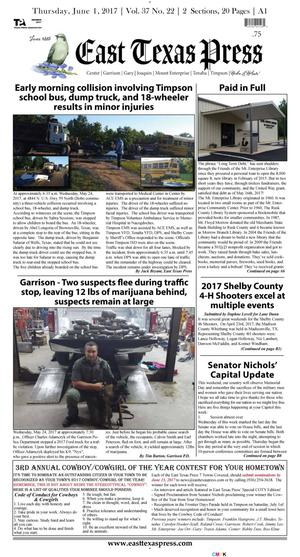 Primary view of East Texas Press (Timpson, Tex.), Vol. 37, No. 22, Ed. 1 Thursday, June 1, 2017