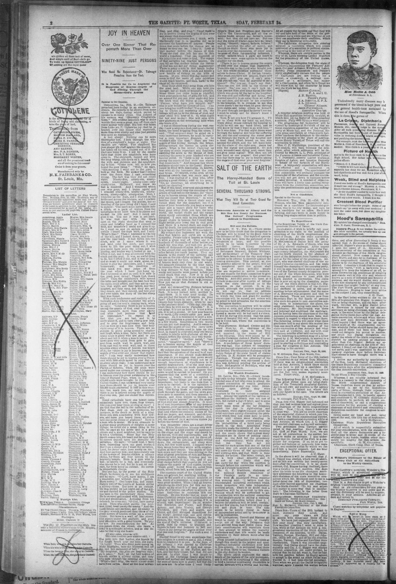 Fort Worth Gazette. (Fort Worth, Tex.), Vol. 14, No. 12, Ed. 1, Thursday, February 25, 1892                                                                                                      [Sequence #]: 2 of 16