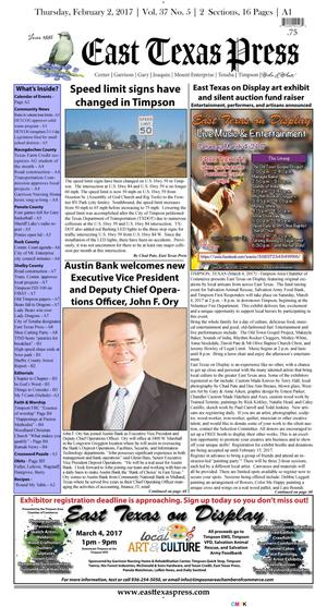 East Texas Press (Timpson, Tex.), Vol. 37, No. 5, Ed. 1 Thursday, February 2, 2017