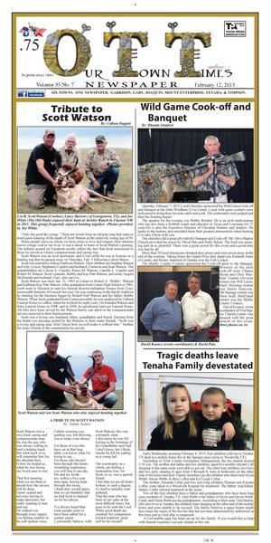 Our Town Times (Timpson, Tex.), Vol. 35, No. 7, Ed. 1 Thursday, February 12, 2015