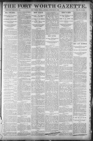 Primary view of object titled 'Fort Worth Gazette. (Fort Worth, Tex.), Vol. 16, No. 135, Ed. 1, Saturday, February 27, 1892'.