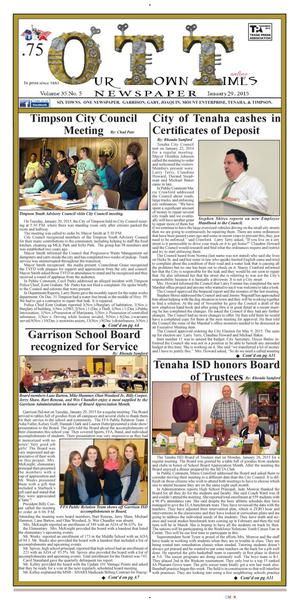 Our Town Times (Timpson, Tex.), Vol. 35, No. 5, Ed. 1 Thursday, January 29, 2015