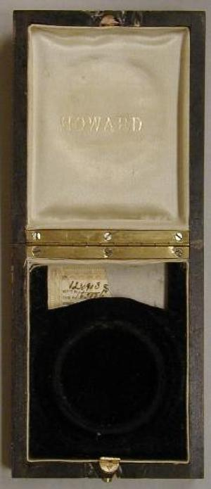 Primary view of object titled '[Dark wood box lined on the inside with satin]'.