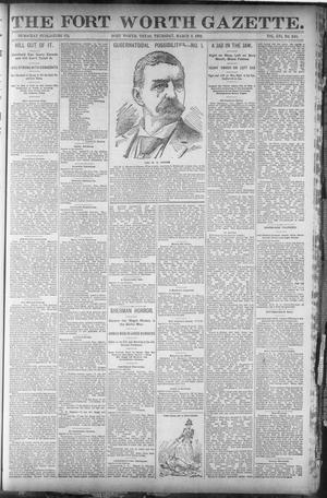 Primary view of object titled 'Fort Worth Gazette. (Fort Worth, Tex.), Vol. 16, No. 140, Ed. 2, Thursday, March 3, 1892'.