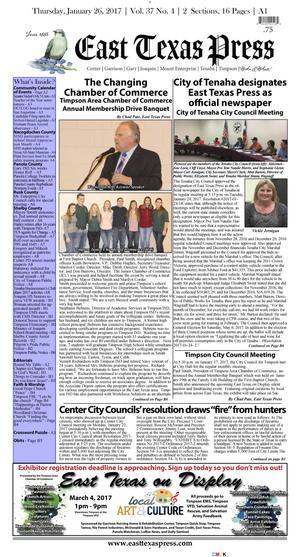 East Texas Press (Timpson, Tex.), Vol. 37, No. 4, Ed. 1 Thursday, January 26, 2017