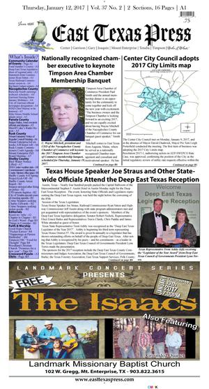 East Texas Press (Timpson, Tex.), Vol. 37, No. 2, Ed. 1 Thursday, January 12, 2017