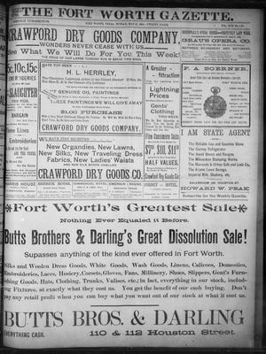 Primary view of object titled 'Fort Worth Gazette. (Fort Worth, Tex.), Vol. 17, No. 186, Ed. 1, Sunday, May 21, 1893'.