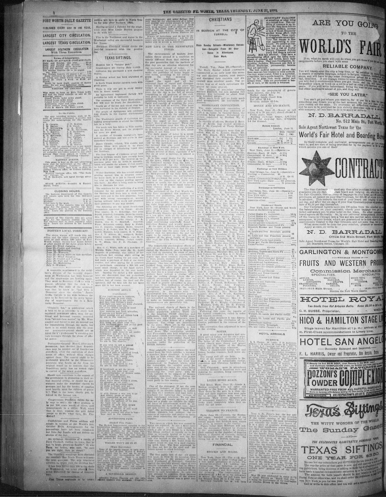 Fort Worth Gazette. (Fort Worth, Tex.), Vol. 17, No. 218, Ed. 1, Thursday,  June 22, 1893 - Page 4 of 8 - The Portal to Texas History