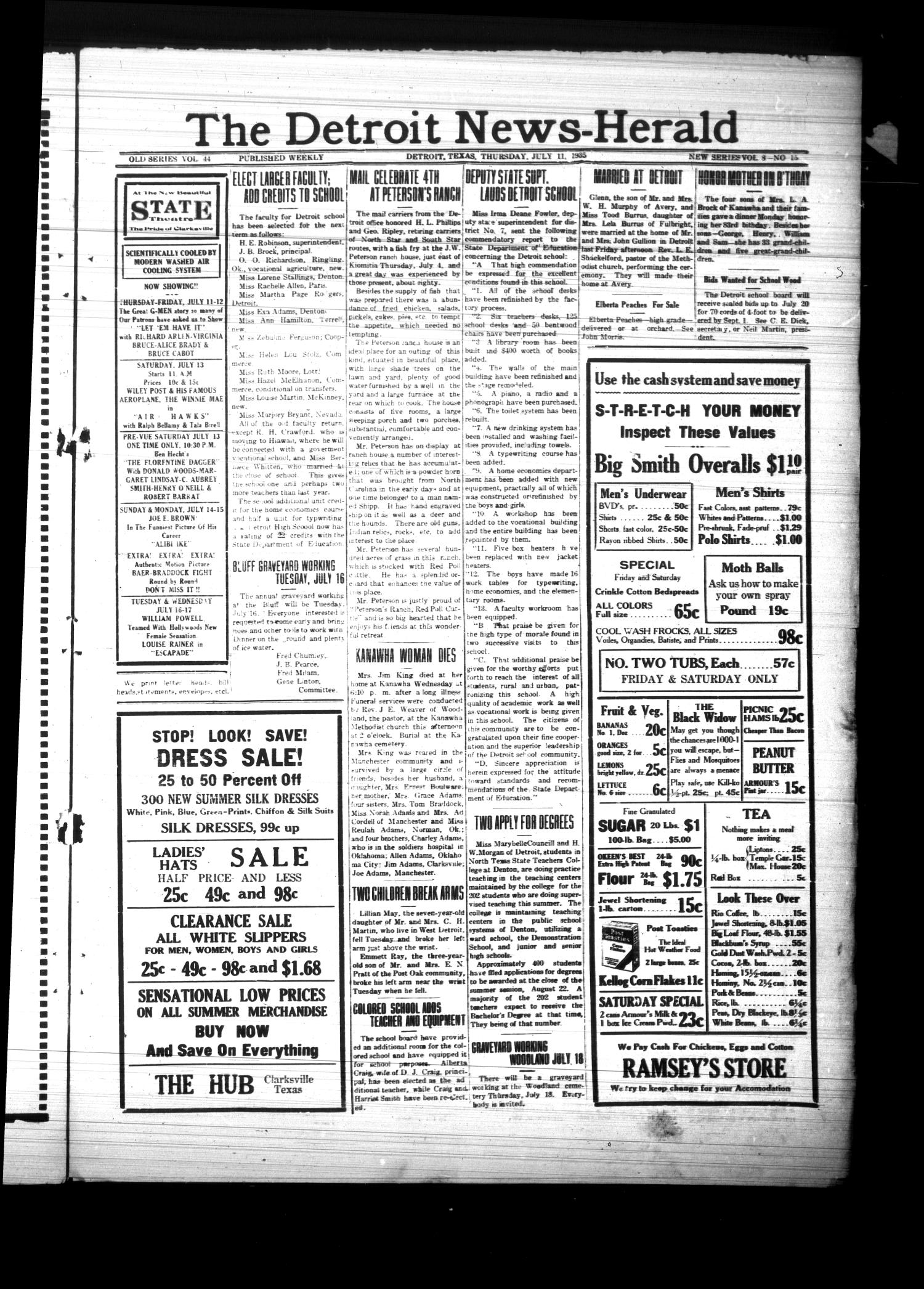 The Detroit News-Herald (Detroit, Tex.), Vol. 8, No. 15, Ed. 1 Thursday, July 11, 1935                                                                                                      [Sequence #]: 1 of 4