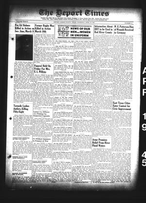 Primary view of object titled 'The Deport Times (Deport, Tex.), Vol. 37, No. 11, Ed. 1 Thursday, April 19, 1945'.