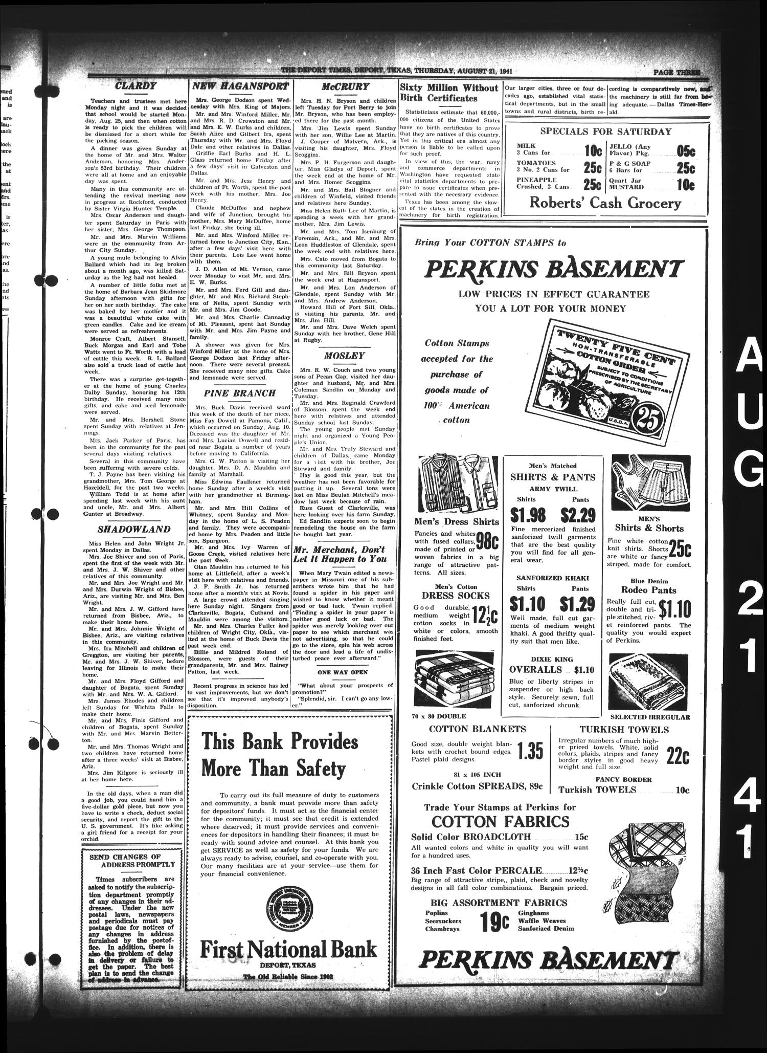 The Deport Times (Deport, Tex.), Vol. 33, No. 29, Ed. 1 Thursday, August 21, 1941                                                                                                      [Sequence #]: 3 of 8